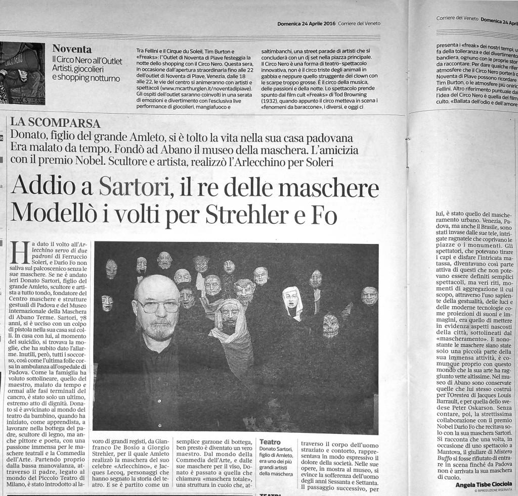articolo la scomparsa di Donato Sartori