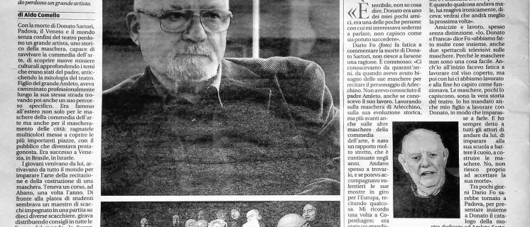 La scomparsa del Maestro Donato Sartori